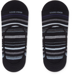 Hugo Boss Striped Stretch Cotton-Blend No-Show Socks