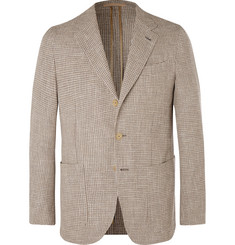 Caruso - Beige Butterfly Slim-Fit Cotton, Linen and Silk-Blend Tweed Blazer