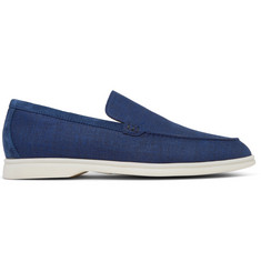 Loro Piana Summer Walk Suede-Trimmed Linen Loafers