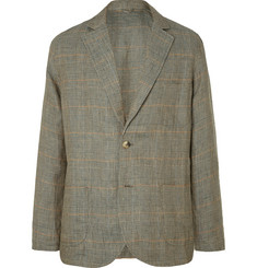 De Bonne Facture Unstructured Linen Prince of Wales Checked Linen Blazer