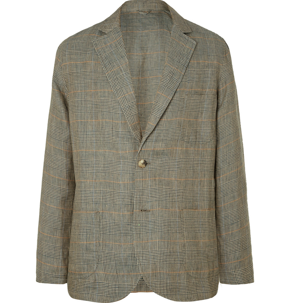 Unstructured Linen Prince Of Wales Checked Linen Blazer - Green