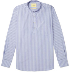 De Bonne Facture Grandad-Collar Striped Cotton Shirt