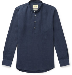 De Bonne Facture Grandad-Collar Brushed-Linen Shirt