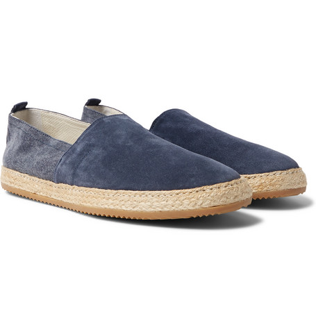 76615500b Brunello Cucinelli Suede And Canvas Espadrilles In Navy | ModeSens