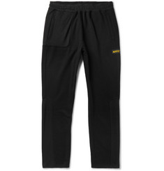 AFFIX Tapered Logo-Appliquéd Fleece-Back Tech-Jersey Sweatpants