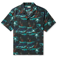 You As Miles Camp-Collar Printed Woven Shirt