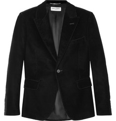 Saint Laurent Black Slim-Fit Velvet Blazer