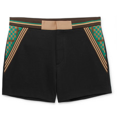Fendi Striped Cotton-Blend Tech-Jersey Shorts