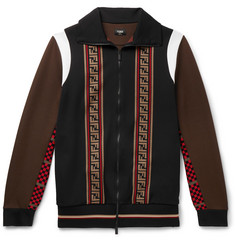 Fendi Logo-Trimmed Panelled Stretch-Jersey Track Jacket