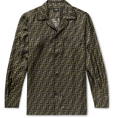 Fendi Logo-Print Silk-Satin Shirt