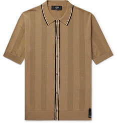 Fendi Contrast-Tipped Perforated Stretch-Knit Polo Shirt