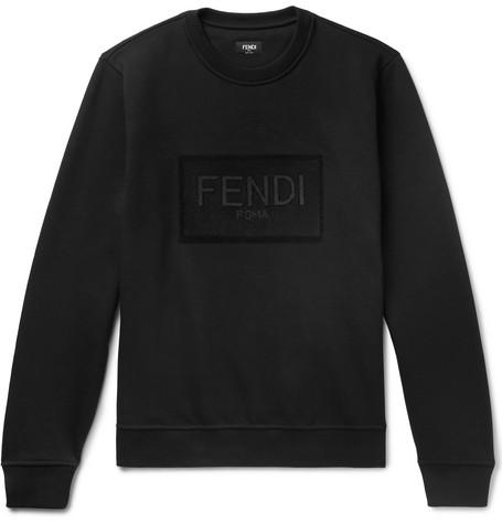 Fendi – Logo-embellished Fleece-back Cotton-jersey Sweatshirt – Black