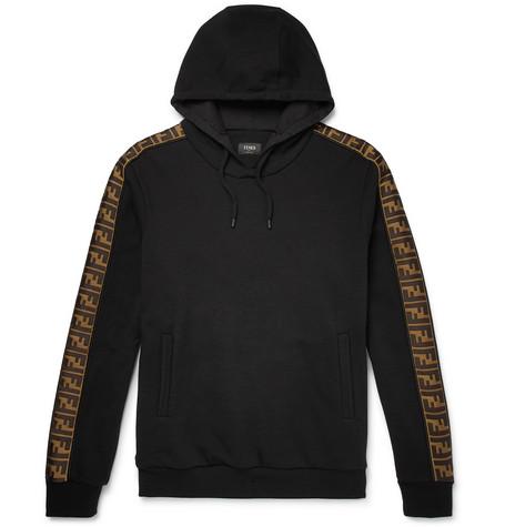 Fendi – Logo-trimmed Fleece-back Cotton, Wool, Silk And Cashmere-blend Hoodie – Black