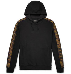 Fendi Logo-Trimmed Fleece-Back Cotton, Wool, Silk and Cashmere-Blend Hoodie