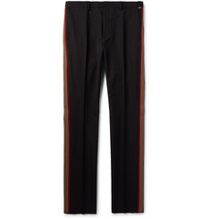 Fendi Black Slim-Fit Webbing-Trimmed Tech-Twill Trousers