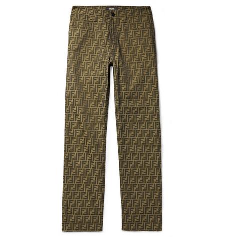 Fendi – Logo-jacquard Trousers – Brown