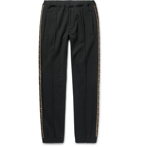 Fendi – Slim-fit Tapered Logo-trimmed Cotton, Wool, Silk And Cashmere-blend Track Pants – Black