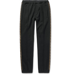 Fendi - Slim-Fit Tapered Logo-Trimmed Cotton, Wool, Silk and Cashmere-Blend Track Pants