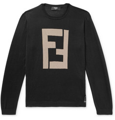 Fendi Logo-Intarsia Cashmere and Silk-Blend Sweater
