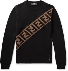 Logo-intarsia Wool Sweater - Black