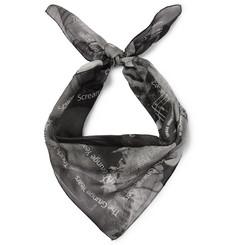 Printed Silk-gauze Scarf - Black