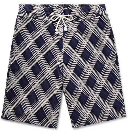 Checked Cotton Blend Jacquard Drawstring Shorts by Maison Margiela