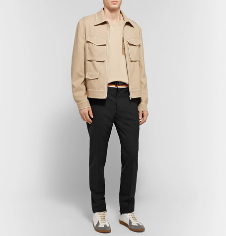 Slim Fit Tapered Shell Trimmed Woven Trousers by Maison Margiela