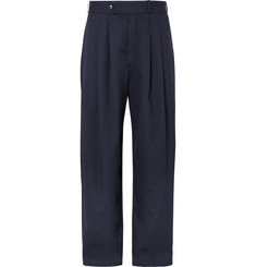 Monitaly Navy Wide-Leg Pleated Cotton-Twill Trousers