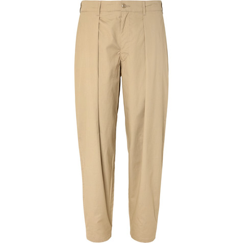 Tapered Pleated Cotton Twill Trousers by Monitaly