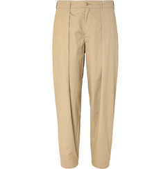 Monitaly Tapered Pleated Cotton-Twill Trousers