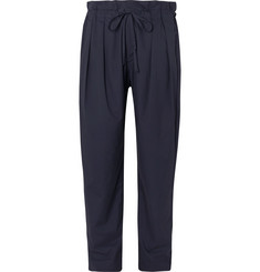 Monitaly Storm-Blue Pleated Cotton Drawstring Trousers