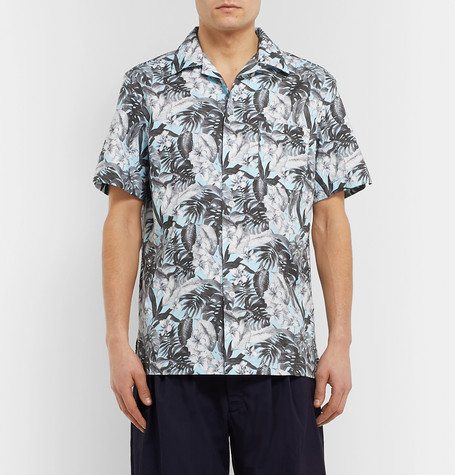 Camp Collar Floral Print Cotton Shirt by Monitaly