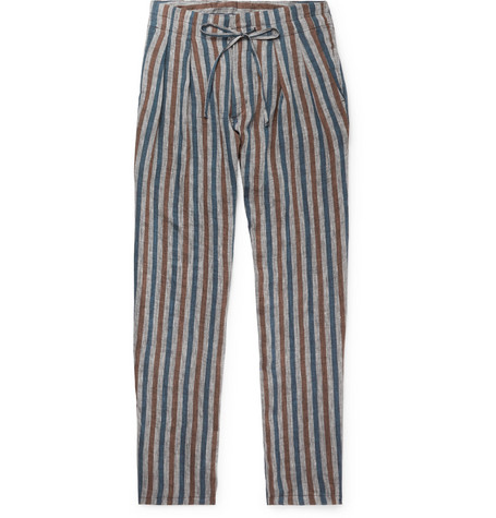 Grey Striped Pleated Linen Drawstring Trousers by Monitaly