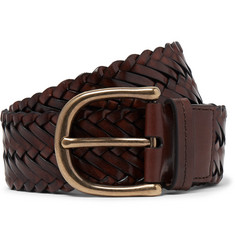 TOM FORD 4cm Brown Woven Leather Belt