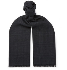 TOM FORD - Fringed Prince of Wales Checked Mohair, Wool, Linen and Silk-Blend Scarf