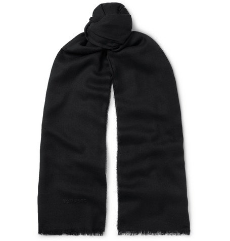 TOM FORD Logo-Embroidered Cashmere, Silk and Wool-Blend Twill Scarf