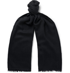 TOM FORD - Logo-Embroidered Cashmere, Silk and Wool-Blend Twill Scarf