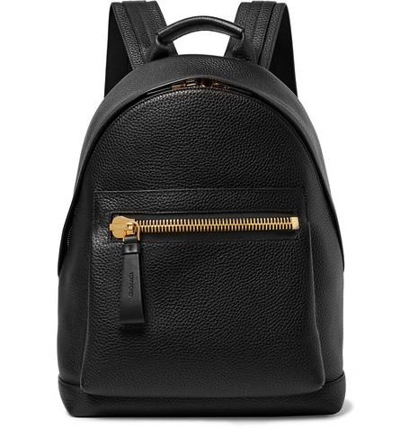 Tom Ford Buckley Full-grain Leather Backpack In Black