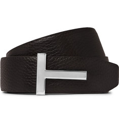 4cm Black And Brown Reversible Full-grain Leather Belt - Black