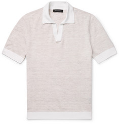Ermenegildo Zegna Slim-Fit Waffle-Knit Mélange Linen and Cotton-Blend Polo Shirt