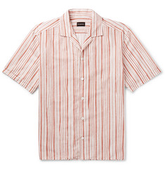 Ermenegildo Zegna Camp-Collar Striped Linen and Cotton-Blend Shirt