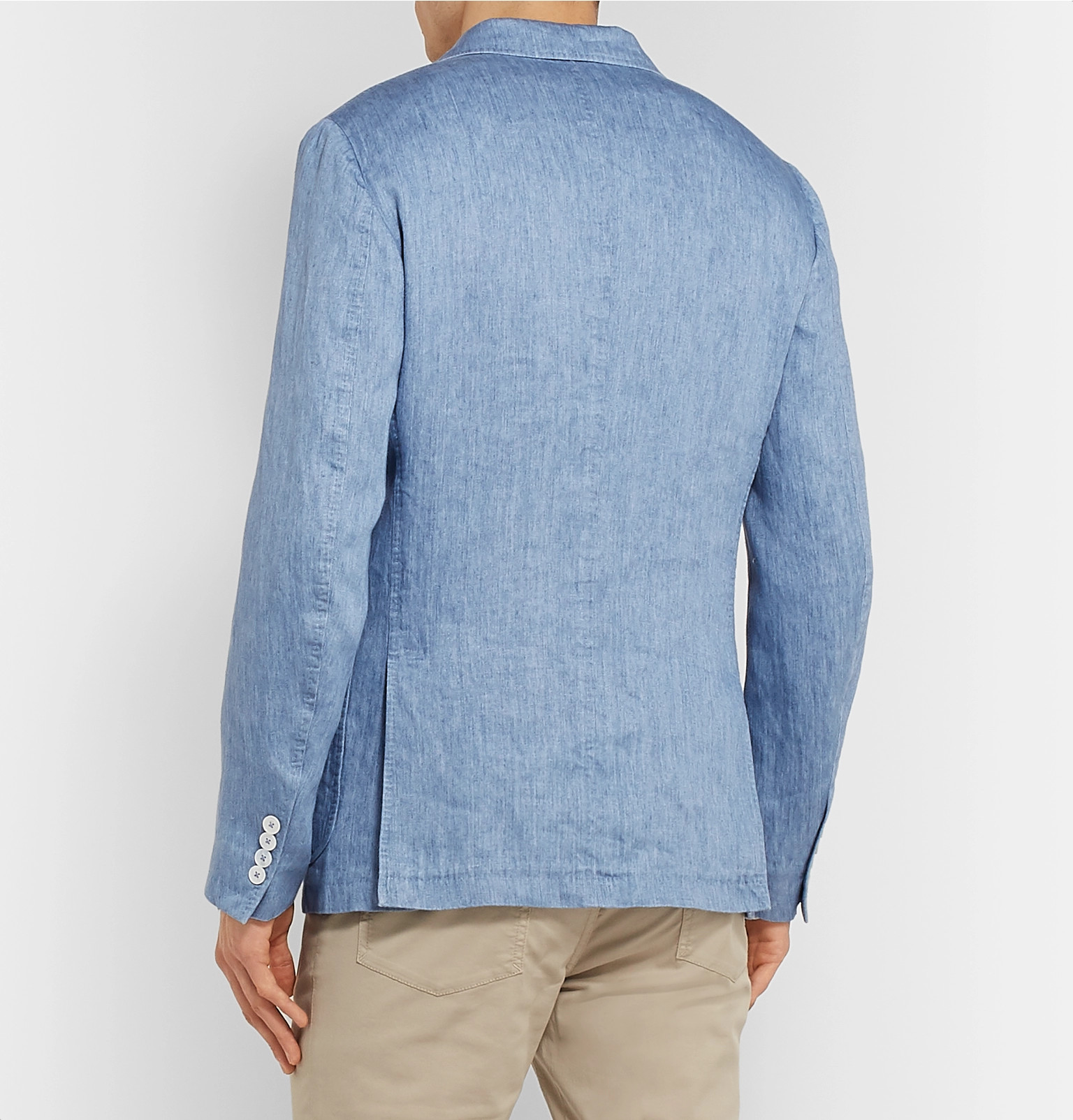 16c4b16f Ermenegildo Zegna - Light-Blue Unstructured Linen Blazer