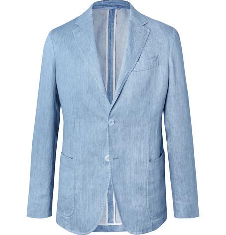 87aebe1c9e Ermenegildo Zegna - Light-Blue Unstructured Linen Blazer