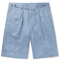 Ermenegildo Zegna Pleated Linen-Chambray Shorts