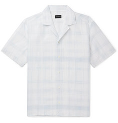 Ermenegildo Zegna Camp-Collar Checked Linen and Cotton-Blend Shirt