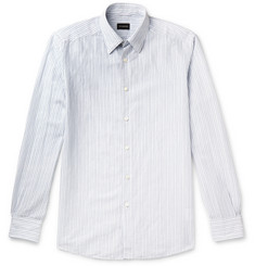 Ermenegildo Zegna Striped Cotton and Linen-Blend Seersucker Shirt