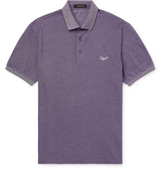 Ermenegildo Zegna Contrast-Tipped Logo-Embroidered Cotton-Piqué Polo Shirt