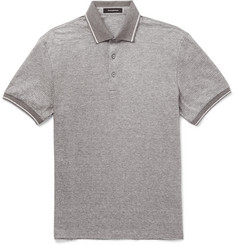 Ermenegildo Zegna Contrast-Tipped Cotton and Linen-Blend Polo Shirt