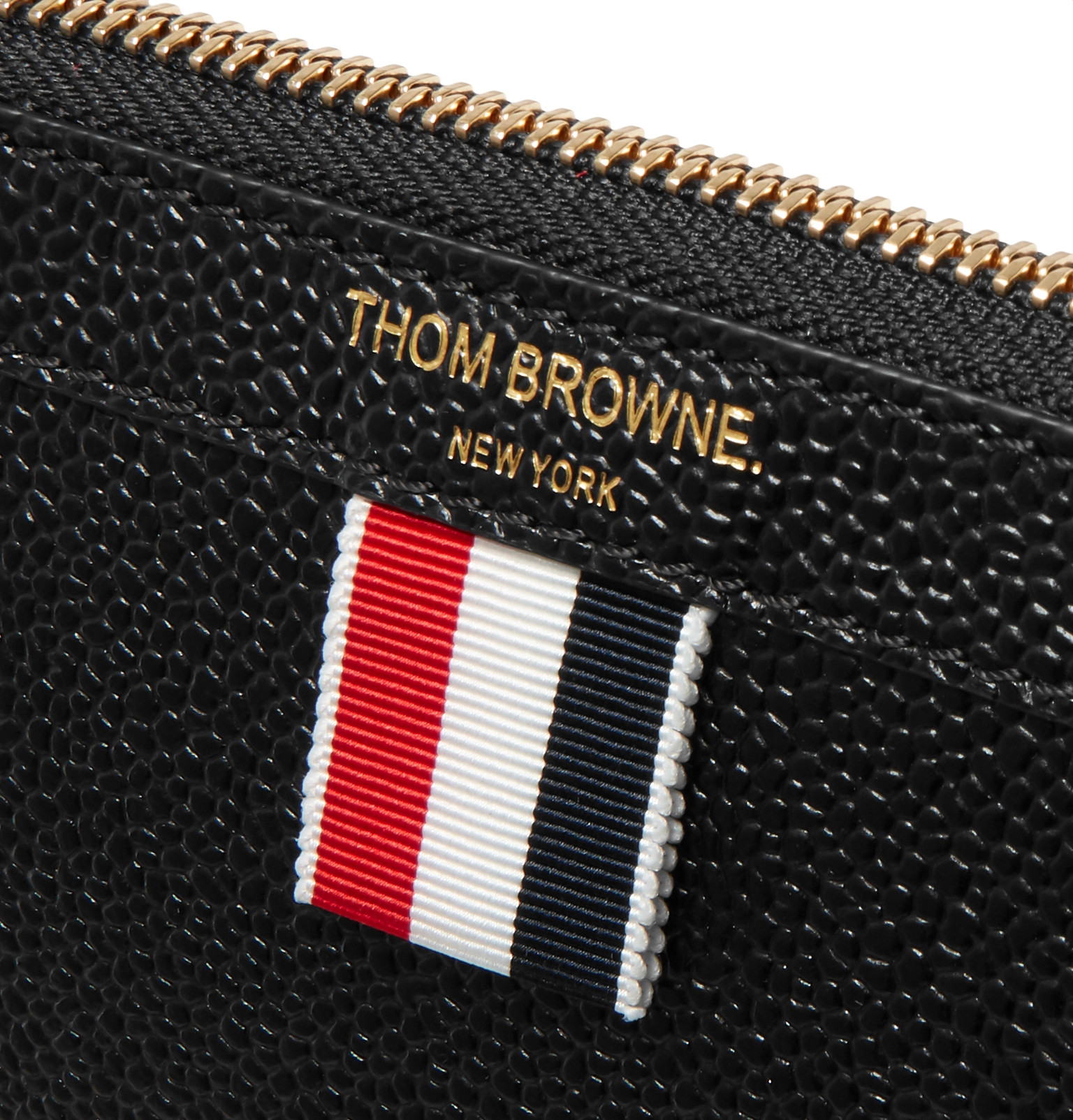29f632e59c8f Thom BrowneStriped Grosgrain-Trimmed Pebble-Grain Leather Zip-Around Pouch