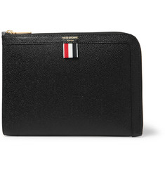톰 브라운 Thom Browne Grosgrain-Trimmed Pebble-Grain Leather Zip-Around Pouch,Black